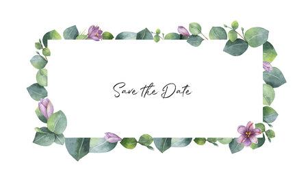 녹색 유칼립투스 잎, 보라색 꽃과 가지 수채화 벡터 배너. 초대장, 결혼식 또는 인사 장 봄 또는 여름 꽃.