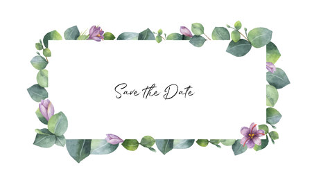 Watercolor vector banner with green eucalyptus leaves, purple flowers and branches. Spring or summer flowers for invitation, wedding or greeting cards. Vettoriali
