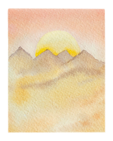 Watercolor vector background of landscape with desert. High quality illustration for travel and tourism.