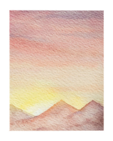 Watercolor vector background of landscape with desert.