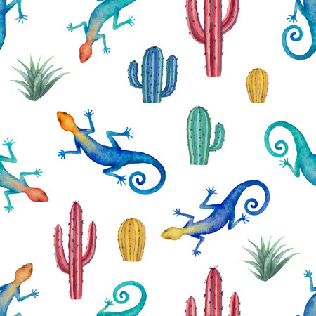 Watercolor seamless pattern of landscape with lizard and cacti isolated on white background. Flower illustration for your projects, greeting cards and invitations. 向量圖像