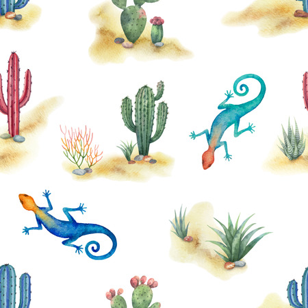 Watercolor seamless pattern of landscape with lizard and cacti isolated on white background. Illustration