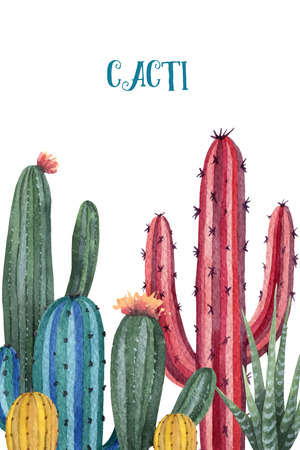 Watercolor vector card of cacti and succulent plants isolated on white background. Ilustração