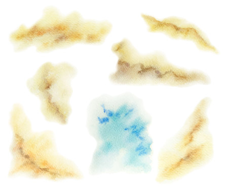 Acuarela conjunto manchas de vectores aislados sobre fondo blanco . Foto de archivo - 99001865
