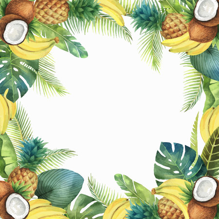 Watercolor vector tropical card of fruits and palm trees isolated on white background. Çizim