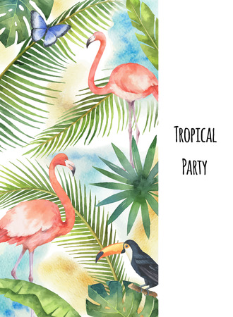 Watercolor vector vertical banner tropical leaves, Flamingo and Toucan isolated on white background. Illustration for design wedding invitations, greeting cards, travel company.