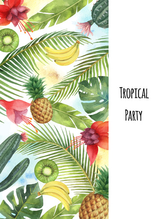 Watercolor vector vertical banner tropical leaves,fruits and cacti isolated on white background. Illustration