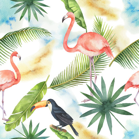 Watercolor seamless pattern of banner tropical leaves. Flamingo and toucan isolated on white background.