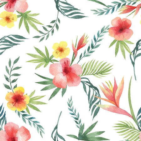 Watercolor seamless pattern of tropical leaves and bright hibiscus flowers isolated on white background. Illustration
