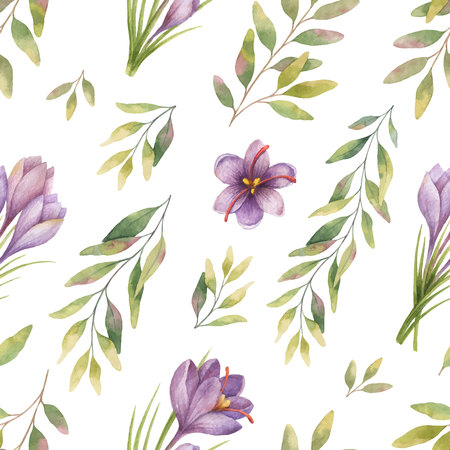 Watercolor vector seamless pattern with eucalyptus leaves and flowers of saffron. Background for textile, paper and other print and web projects. Illustration