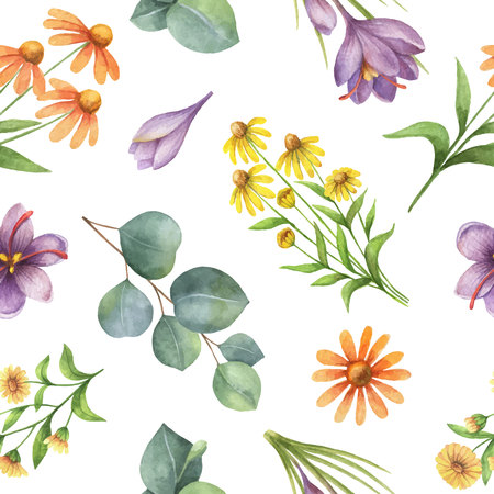 Watercolor vector seamless pattern with flowers and branches. Background for textile, paper and other print and web projects.