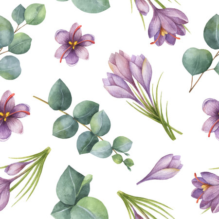 Watercolor vector seamless pattern with silver dollar eucalyptus leaves and flowers of saffron.