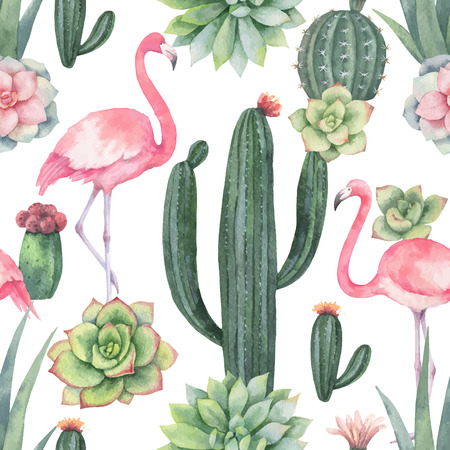 Watercolor vector seamless pattern of pink flamingo, cacti and succulent plants isolated on white background. Фото со стока - 100972990