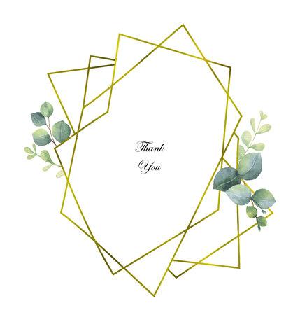 Aquarel vector samenstelling van de takken van eucalyptus en gouden geometrische frame. Vector Illustratie