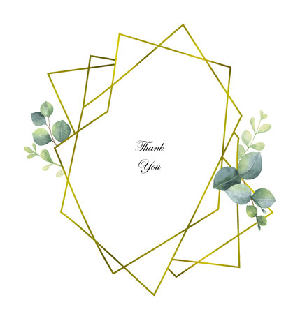 Watercolor vector composition from the branches of eucalyptus and gold geometric frame. Imagens - 102093201