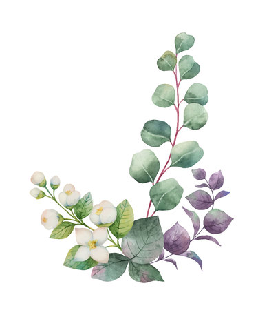 Watercolor vector wreath with green eucalyptus leaves, Jasmine flowers and branches.