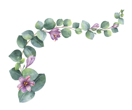 Watercolor vector wreath with green eucalyptus leaves, purple flowers and branches. Illustration