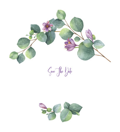 Watercolor vector wreath with green eucalyptus leaves, purple flowers and branches. Ilustrace
