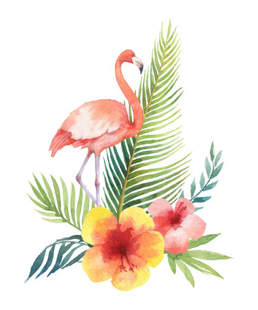 Watercolor vector card of tropical leaves and the pink Flamingo isolated on white background.