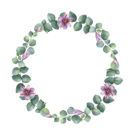 Watercolor vector wreath with green eucalyptus leaves, purple flowers and branches. Ilustração