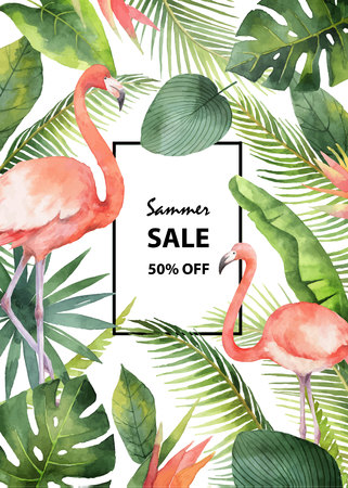 Watercolor vector summer sale banner of tropical leaves and the pink Flamingo isolated on white background.