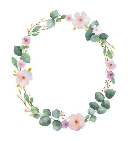 Aquarellvektorkranz mit grünen Eukalyptusblättern, rosa Blumen und Zweigen.