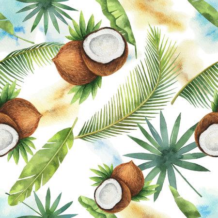 Nahtloses Muster des Aquarellvektors von Kokosnuss- und Palmenbäumen lokalisiert auf weißem Hintergrund. Vektorgrafik