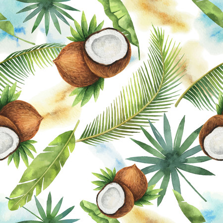 Watercolor vector seamless pattern of coconut and palm trees isolated on white background.