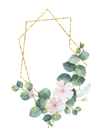Watercolor vector wreath gold geometric frame with green eucalyptus leaves, pink flowers and branches.