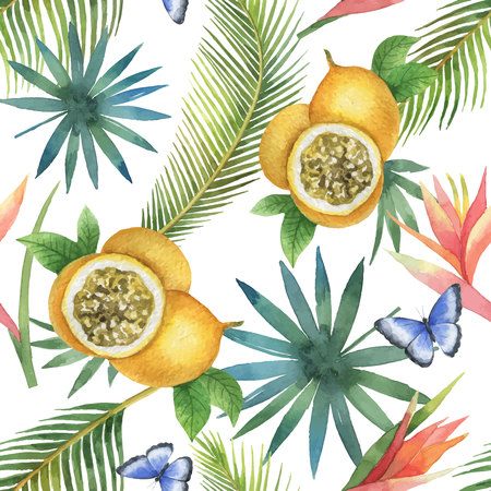 Watercolor vector seamless pattern of passion fruit and palm trees isolated on white background.
