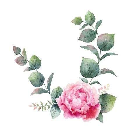 Guirnalda de vector acuarela con hojas de eucalipto verde, flores de peonía y ramas. Ilustración de vector