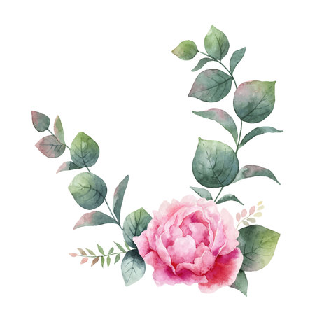 Watercolor vector wreath with green eucalyptus leaves, peony flowers and branches. Vettoriali