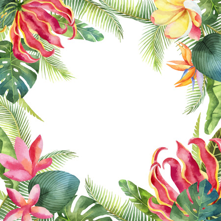 Watercolor vector card with tropical leaves and bright exotic flowers isolated on white background.