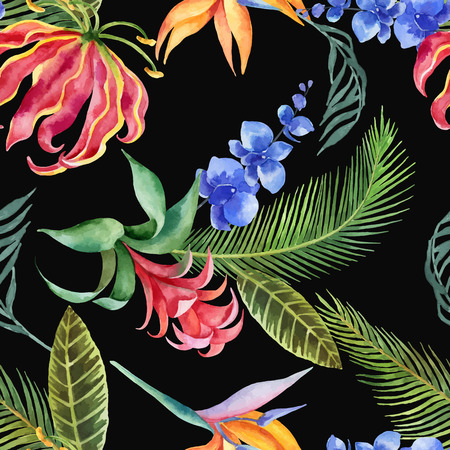 Watercolor seamless pattern of tropical leaves and bright exotic flowers isolated on white background.