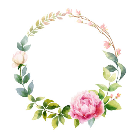 Watercolor vector hand painting wreath of peony flowers and green leaves.