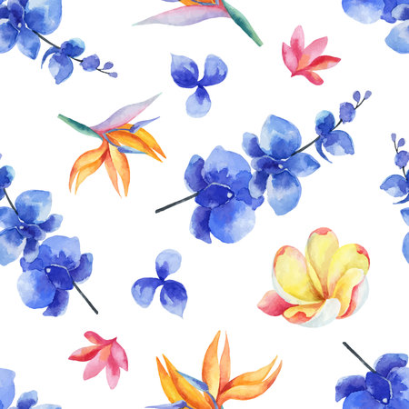 Watercolor seamless pattern of bright exotic flowers isolated on white background.
