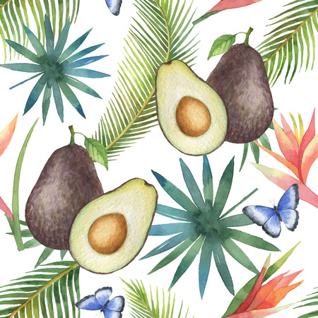 Watercolor vector seamless pattern of avocado and palm trees isolated on white background. Illustration