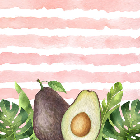 Watercolor vector banner tropical leaves and avocado isolated on the background of stripes.