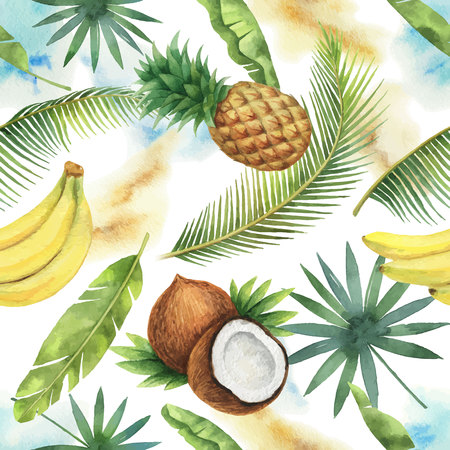 Watercolor vector seamless pattern of coconut, banana, pineapple and palm trees isolated on white background.