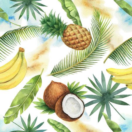 Nahtloses Muster des Aquarellvektors von Kokosnuss, Banane, Ananas und Palmen lokalisiert auf weißem Hintergrund.
