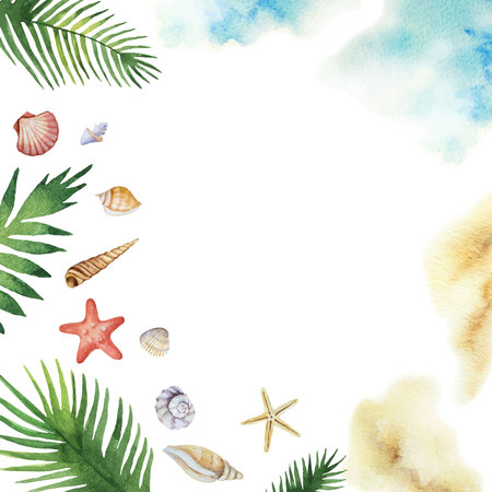 Watercolor vector colorful seashells and tropical leaves isolated on a white background.