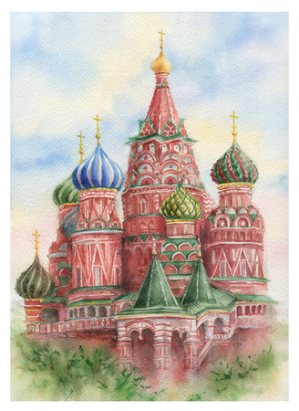 Watercolor St. Basils Cathedral on Red Square in Moscow.