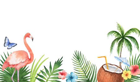 Watercolor vector banner of tropical leaves and the pink Flamingo isolated on white background. Illustration for design wedding invitations, greeting cards, decor.