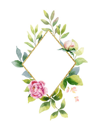 Watercolor vector hand painting composition from the flowers, green leaves and gold geometric frame. Spring or summer design for invitation, wedding or greeting cards.