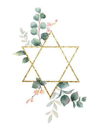 Watercolor vector hand painting composition from the flowers, green leaves and gold geometric frame. Illustration