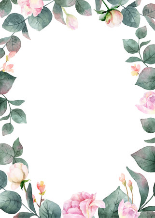 Watercolor vector hand painting card of peony flowers and green leaves. Spring or summer flowers for invitation, wedding or greeting cards.