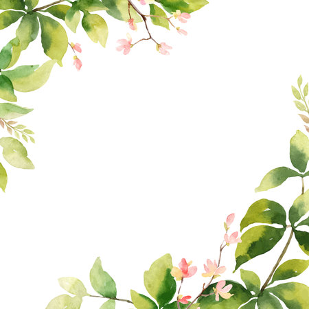 Watercolor vector hand painting card of peony flowers and green leaves. Spring or summer flowers for invitation, wedding or greeting cards. Banque d'images - 112223902