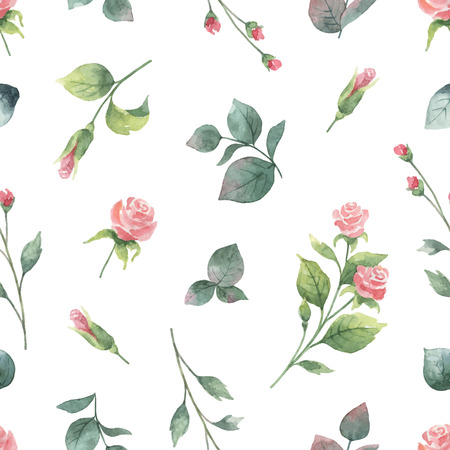 Watercolor vector hand painting seamless pattern of rose flowers and green leaves. Spring or summer flowers for design textiles, wedding or greeting cards. Ilustração