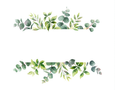Watercolor vector hand painting horizontal banner with green leaves and branches. Spring or summer flowers for invitation, wedding or greeting cards. Illustration