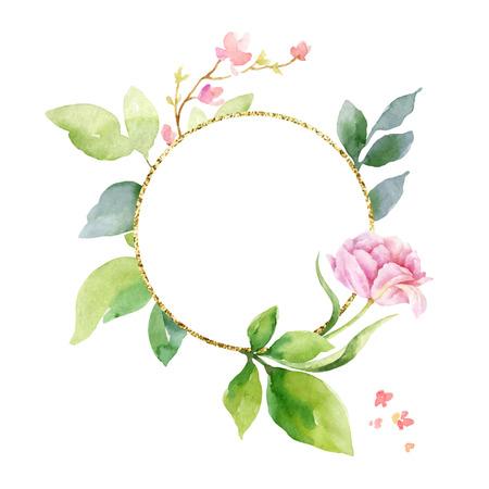 Aquarellvektor-Handmalerei-Komposition aus den Blumen, den grünen Blättern und dem geometrischen Goldrahmen. Frühlings- oder Sommerdesign für Einladungs-, Hochzeits- oder Grußkarten.
